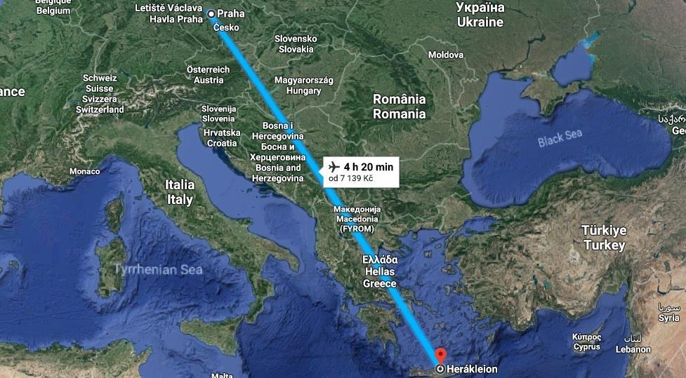 Doba letu Praha Heraklion
