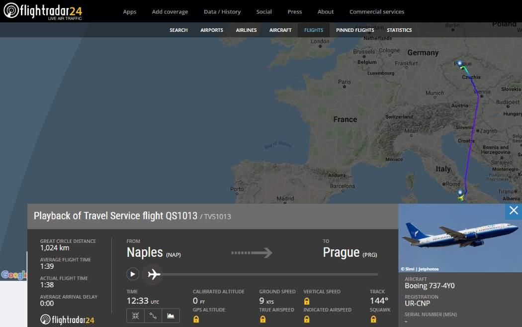 FlightRadar24 com letecký provoz online radar