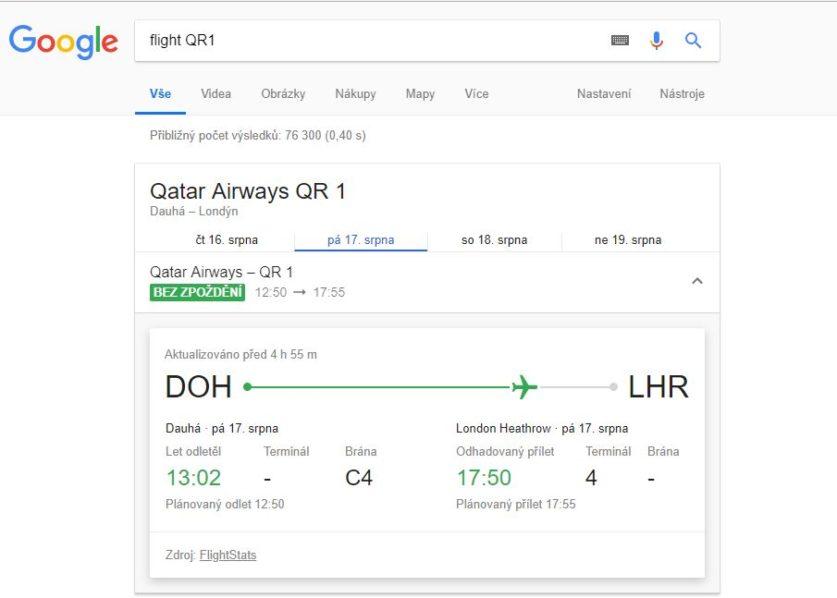 Sledování letů online podle čísla letu