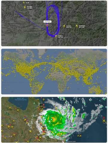 Flightradar 24 na mapě