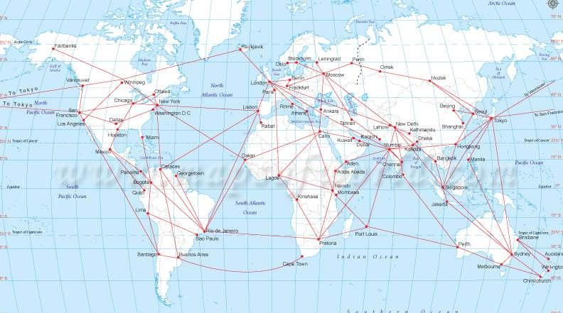 Mapa letadel na mapě světa
