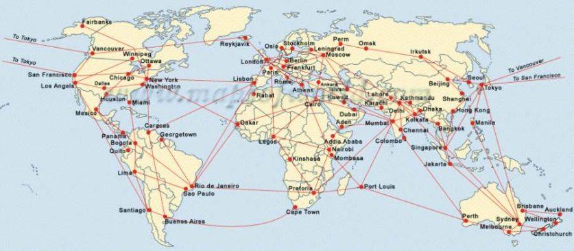 Mapa letadel trasy