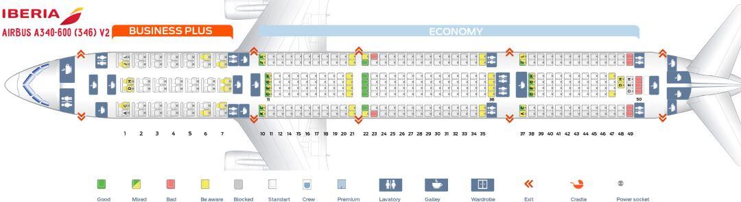 Plán a rozmístění sedadel A340 Airbus