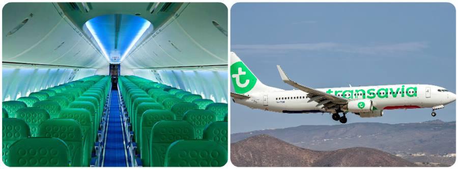 Letecká společnost Transavia sedadla a letadlo